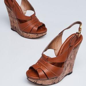 Chloé RENNA Camel Leather Cork Wedge Sandals 37.5